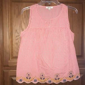 Madewell Gingham Embroidered Shirt Size Small